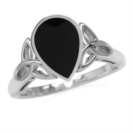 10x7MM Pear Shape Created Onyx Inlay 925 Sterling Silver Triquetra Celtic Knot Ring