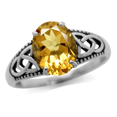 2.2 ct Genuine Yellow Citrine 925 Sterling Silver Triquetra Celtic Knot Solitaire Ring