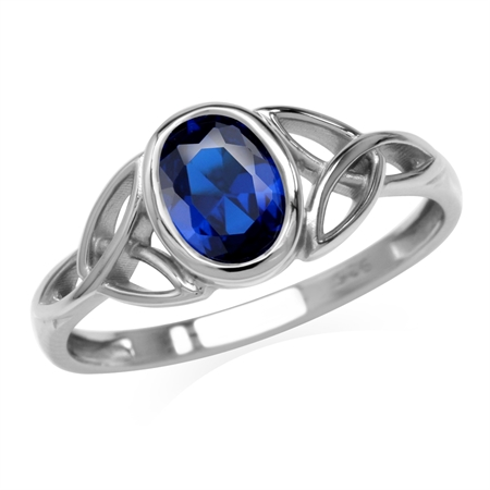 Created Blue Sapphire White Gold Plated 925 Sterling Silver Triquetra Celtic Knot Ring