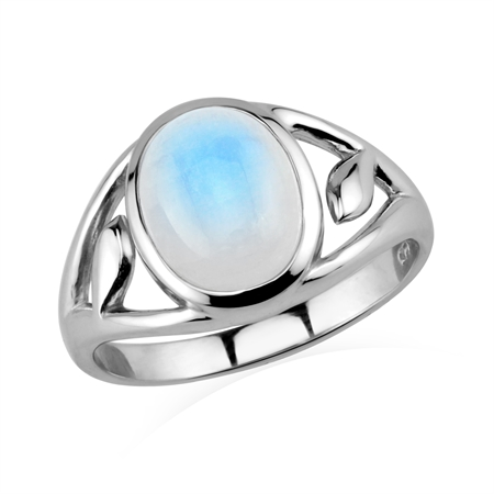 Natural Rainbow Moonstone 925 Sterling Silver Filigree Casual Solitaire Ring