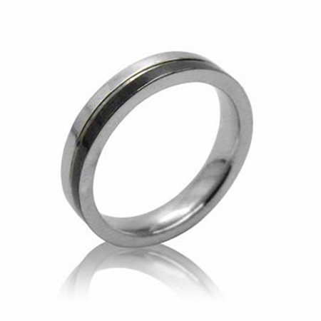 4MM Wide Two-Tone Black Stainless Steel Band Ring