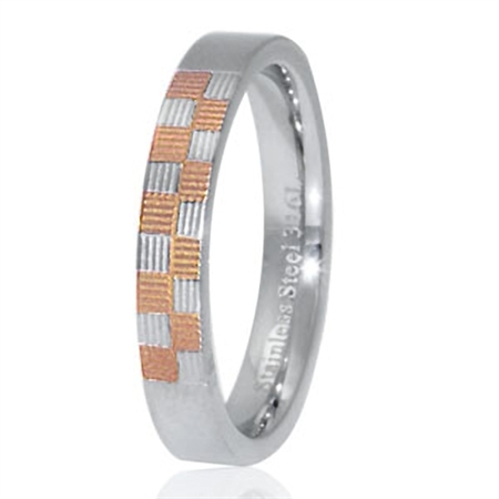 Copper Two-Tone PVD 316L Stainless Steel Pattern Band Ring