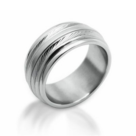 Men's Wire Textured Stainless Steel Ring