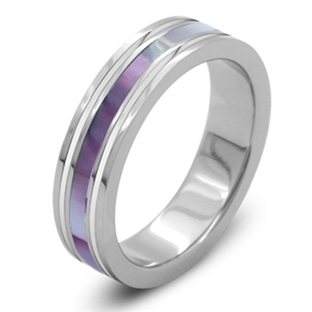 Women 316L Stainless Steel & Mother of Pearl Inlay Wide Band Ring