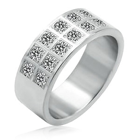 316L Stainless Steel & CZ Wide Band Ring