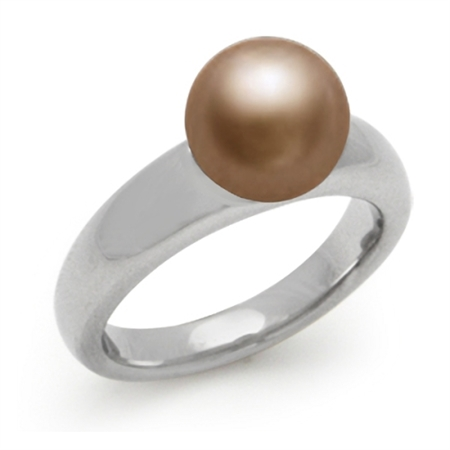 PVD Stainless Steel Copper Tone Ball Ring