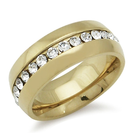 7MM White Crystal Gold Tone Stainless Steel Wedding Eternity Band Ring