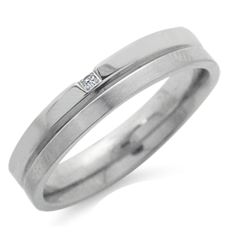 Natural White Diamond Double Textured Stainless Steel Engagement Ring