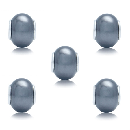 SET of 5 Imitation Grey Pearl 925 Sterling Silver European Charm Bead (Fits Pandora Chamilia)
