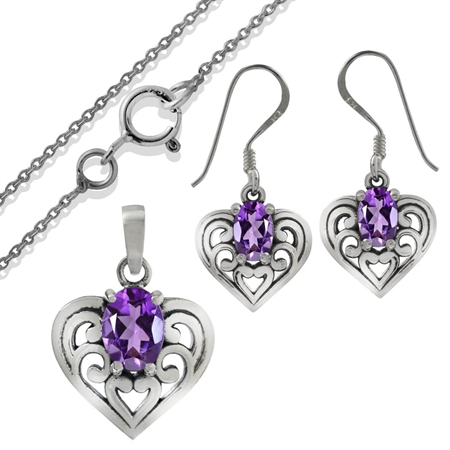 1.58ct. Natural African Amethyst 925 Sterling Silver Earrings & Pendant/Necklace Set