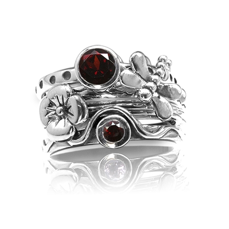 Set of 4 Natural Garnet 925 Sterling Silver Dragonfly & Flower Stack/Stackable Rings