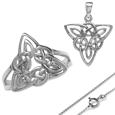White Gold Plated 925 Sterling Silver Triquetra Celtic Knot Ring & Pendant w/18 Inch Necklace Set