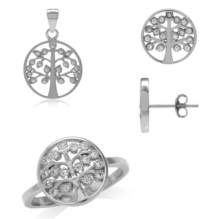 White CZ 925 Sterling Silver Tree of Life Ring, Earrings & Pendant Set