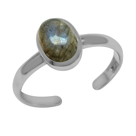 Natural Labradorite Oval 7x5 mm 925 Sterling Silver Toe Ring