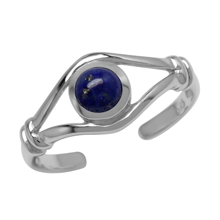 Natural Blue Lapis Lazuli Stone 925 Sterling Silver Toe Ring