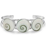 3 Stone Shiva Shell Inlay Sterling Silver Bangle
