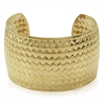 Women&#39s Gold Tone Stainless Steel Weave Textured Wide Cuff Bangle Bracelet
