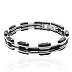 Men&#39s Stainless Steel & Rubber Link Bangle
