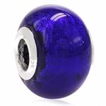 Amethyst Purple Venetian Italian Made Murano Glass/Lampwork 925 Sterling Silver Caps