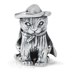 925 Sterling Silver Halloween Witch CAT European Charm Bead (Fits Pandora Chamilia)