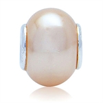 Imitation Peach Pearl 925 Sterling...
