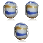 SET of 3 White, Brown&Blue Murano ...