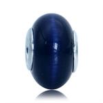 Sapphire Blue Cats Eye 925 Sterling Silver European Charm Bead (Fits Pandora Chamilia)