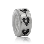 925 Silver Plated HEART Spacer Eur...