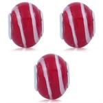 SET of 3 Red  & White Murano Glass...