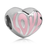 Pink Enamel 925 Sterling Silver HEART LOVE European Charm Bead (Fits Pandora Chamilia)