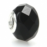 Jet Black Murano Glass 925 Sterling Silver European Charm Bead (Fits Pandora Chamilia)