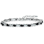 Natural Black Sapphire & White Topaz 925 Sterling Silver 7-8.5 Adjustable Bracelet