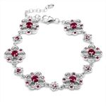 Simulated Red Ruby White Gold Plat...