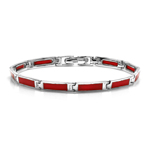 Rectangular Shape Created Red Coral Inlay 925 Sterling Silver 7 Inch Link Bracelet