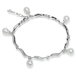 Cultured White Pearl & CZ 925 Sterling Silver 7