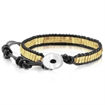 Women Gold Tone Bead 316L Stainless Steel & Black Leather 6&#34-9&#34 Bracelet