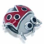 Red & Black Enamel 925 Sterling Si...