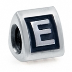 925 Sterling Silver Alphabet Letter E Threaded European Charm Bead