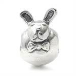 925 Sterling Silver RABBIT Threaded European Charm Bead