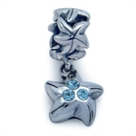 Nagara Blue Crystal 925 Sterling Silver STAR Bead