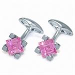 8MM Square Shape Pink CZ 925 Sterling Silver Cufflink