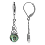 Abalone/Paua Shell White Gold Plated 925 Sterling Silver Triquetra Celtic Knot Leverback Earrings