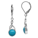 7MM Genuine Round American Turquoise White Gold Plated 925 Sterling Silver Casual Leverback Earrings