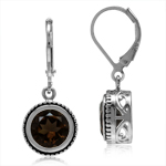 3.54ct 8MM Natural Round Smoky Quartz 925 Sterling Silver Filigree Balinese Style Leverback Earrings