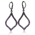 1.8ct. Natural Amethyst with Black Rhodium Plated 925 Sterling Silver Drop Leverback Earrings