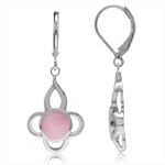 7MM Pink Mother Of Pearl Inlay White Gold Plated 925 Sterling Silver Flower Leverback Earrings