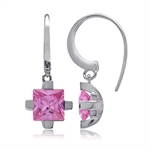 8mm Square Pink CZ Sterling Silver...