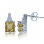 5MM Natural Citrine 925 Sterling Silver Post Earrings