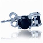 5MM Round Shape Black CZ 925 Sterling Silver Stud Earrings