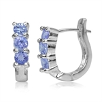 3-Stone Genuine Tanzanite White Gold Plated 925 Sterling Silver Huggie Earrings